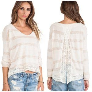 Free People Open Back Lace and Knit Sweater